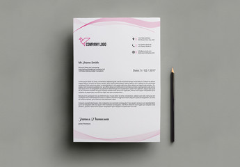 Pink Letterhead Layout with Illustration 1