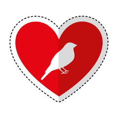 heart romantic with bird vector illustration design
