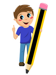 Schoolboy holding big pencil thumb up isolated