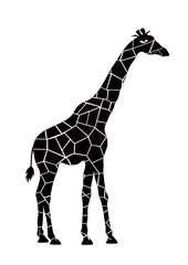 Black and white silhouette of giraffe