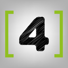 Number 4 sign design template element. Vector. Black scribble icon in citron brackets on grayish background.