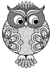 Big stylized ornate rounded owl