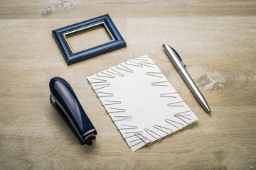 frame for a photo of stationery items