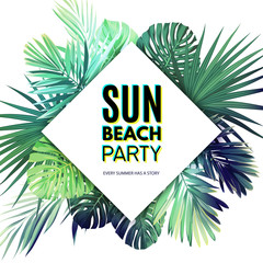Bright vector floral poster template for summer beach party. Tropical flyer with green exotic palm leaves.