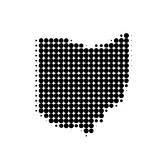 Dotted map of Ohio. Vector