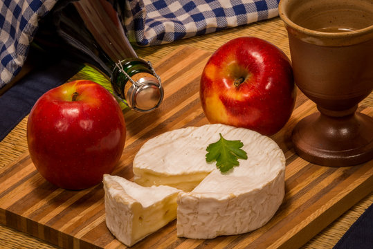 Products from normandy apple wine cider cidre camenbert cheese