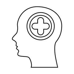 human profile with cross vector illustration design