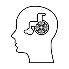 human profile with wheelchair vector illustration design