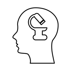 human profile with microscope vector illustration design