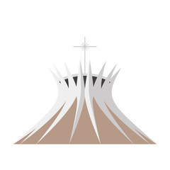 Brasilia Cathedral, Brazil. Isolated on white background vector illustration.
