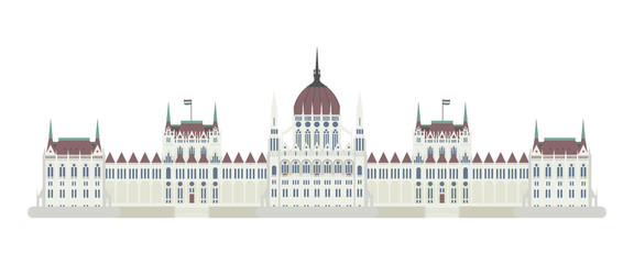 Budapest Parliament, Hungary. Isolated on white background vector illustration.