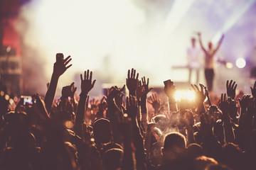 crowd at concert - summer music festival Fotomurales