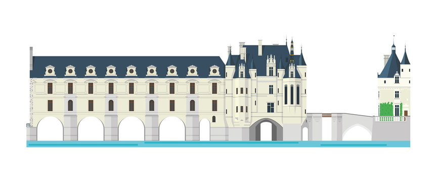 Chenonceau Castle, Loire Valley, France. Isolated on white background vector illustration.