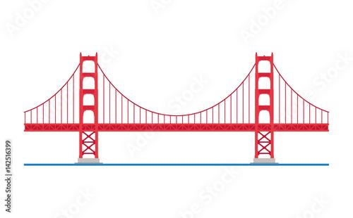 Dessin Du Pont De San Francisco golden gate bridge, san francisco, usa. isolated on white background
