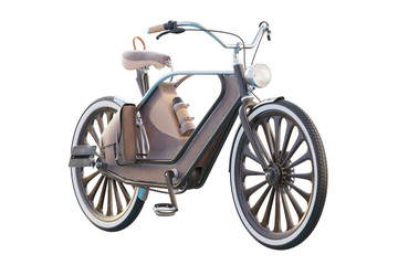 Old vintage bicycle. Steampunk style. On a white background. 3d render