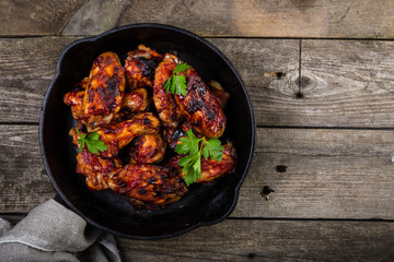 Chicken wings in cast iron skillet