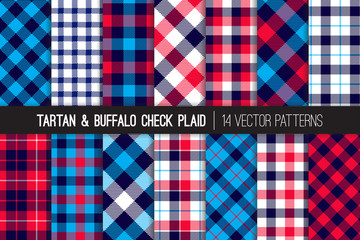 Patriotic Red, White, Blue Tartan and Buffalo Check Plaid Vector Patterns. Hipster Lumberjack Flannel Shirt Fabric Textures. July 4th Independence Day Backgrounds. Pattern Tile Swatches Included