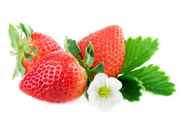 Strawberry organic strawberries on white