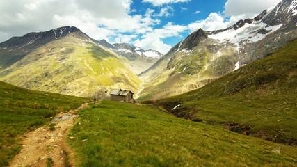 Way to Martin Busch Cottage in Ötztal Alps, Austria