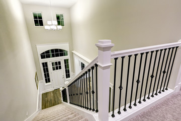 Top view of Chic two story entryway from staircase