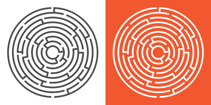 Round maze isolated on white and orange backgrounds. Circle labyrinth. Vector illustration
