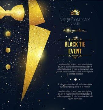 Black Tie Event Invitation. Elegant black  card with golden sparkles. Vector illustration