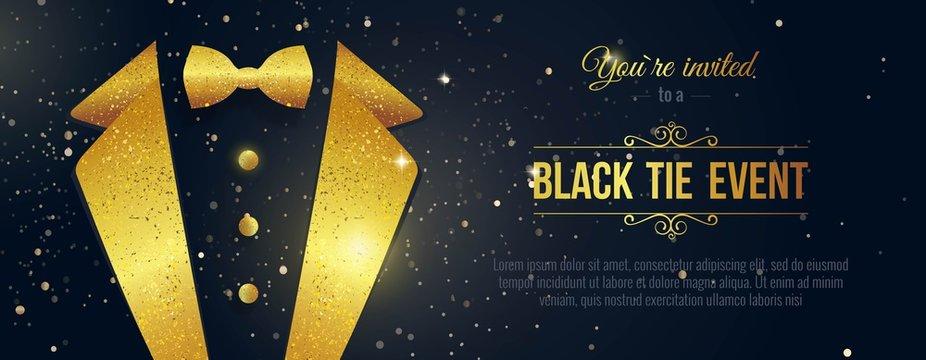 Horizontal Black Tie Event Invitation. Businessmen banner. Elegant black  card with golden sparkles.  Black banner with businessman suit. Vector illustration