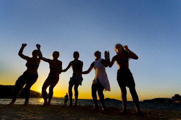 Silhouette of People Dancing On Beach at Sunset