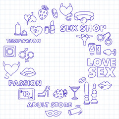 Pattern with toys for adults Sex shop, adult shop, adult store