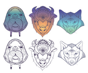 Animals totems: vector wolf, buffalo and walrus