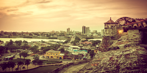 View on sunset over Cartagena in Colombia