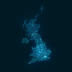 Abstract Telecommunication Network Map - United Kingdom
