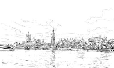 London cityscape hand drawn. Big Ben. England. vector illustration.