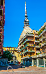 view of the mole antonelliana which is the most famous landmark of the italian city torino