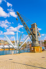 view of an old industrial crane with bigo observation deck at background in the port of genoa in Italy.