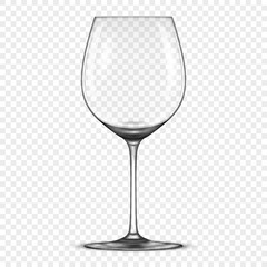 Vector realistic empty wine glass icon isolated on transparent background. Design template in EPS10.