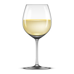 Vector realistic wineglass with white wine icon isolated on white background. Design template in EPS10.