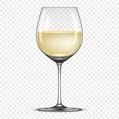 Vector realistic wineglass with white wine icon isolated on transparent background. Design template in EPS10.
