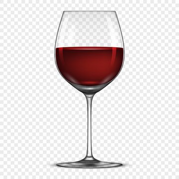Vector realistic wineglass with red wine icon isolated on transparent background. Design template in EPS10.
