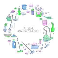 Hand drawn doodle Cleaning service icons set Vector illustration Cleaning symbols, tools, Detergent, iron, mop, dust pan, brushes bleach, duster, washing liquid, vacuum cleaner, doodle icons, sketch