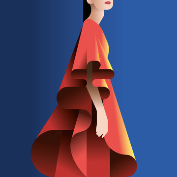 Illustration of woman wearing redfrilled dress