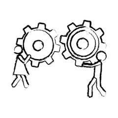sketch of man and woman holding a pinion vector illustration