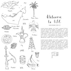 Hand drawn doodle UAE icons set Vector illustration Sketchy Emirati food icons United Arab Emirates elements Flag Dubai Abu Dhabi Oil Abaya Hijab Kandura Muslim Travel icons
