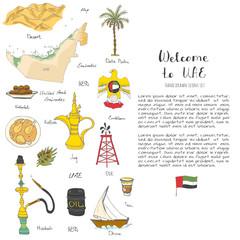 Hand drawn doodle UAE icons set Vector illustration Sketchy Emirati food icons United Arab Emirates elements Flag Dubai Abu Dhabi Oil Abaya Hijab Kandura Muslim Travel icons