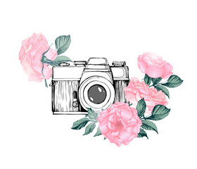 Vintage retro photo camera in flowers, leaves, branches on white background. Hand drawn Vector