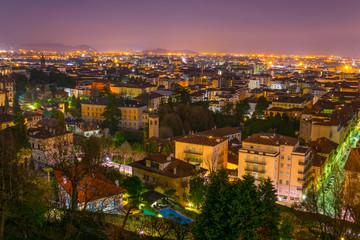 night aerial view of the italian city bergamo