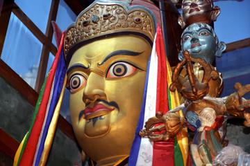 Statue of Tibetan Buddhism founder Padmasambhava Guru Rinpoche in the monastery Zhidung gompa on September 2011 in Old Drompa, Tibet, China.