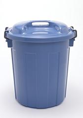 single metallic trashcan with cap isolated