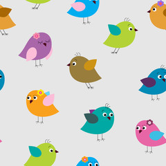Cute seamless pattern with different colored birds