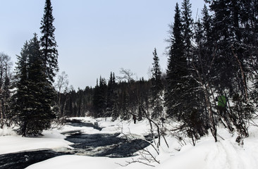 Tourists in Russian Lapland, Kola Peninsula